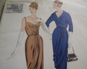 Vintage 1950's Vogue 194 Couturier Dress and Jacket Sewing Pattern, Size 18, Bust 38