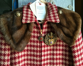 Tilda.....As Seen in Cincinnati Magazine Red Plaid Zip Front Vintage Jacket Embellished with Heirloom Family Crest Medals, Pulls and Buttons