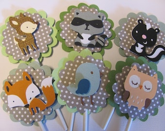SET OF 24 Cupcake Toppers,  Woodland animal cupcake toppers