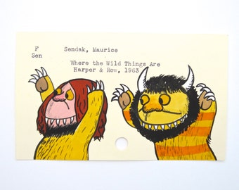 Where the Wild Things Are Library Card Art - Print of my painting on library card