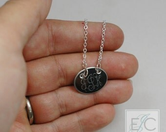 oval engraved monogram necklace