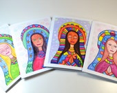 Christmas Cards VARIETY PACK Set of 4: Guadalupe Prays for Peace -Holy Mother - Virgin Mary - Mexican American Art - Spiritual Peace