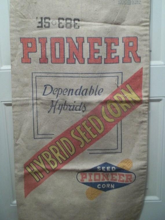 Vintage Pioneer Hybrid Seed Corn Sack