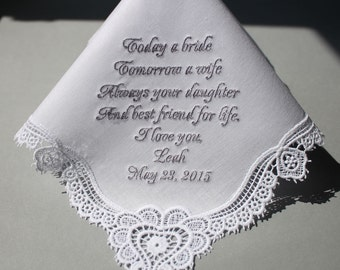 Personalized Wedding Handkerchiefs Embroidered to Mother of Bride (#1171)