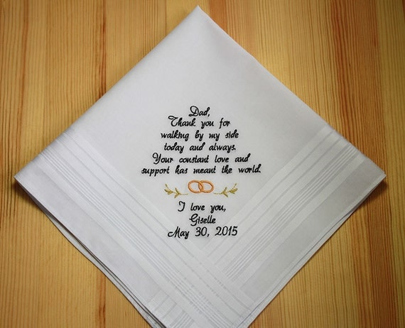 Embroidered wedding handkerchief to father of