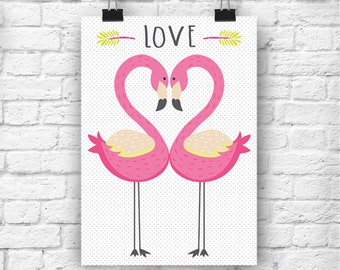 LOVE Flamingos A4 Print