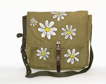 Vintage Upcycled Hand Painted Military Bag Green Cotton Canvas Messenger Bag with Daisy Flowers