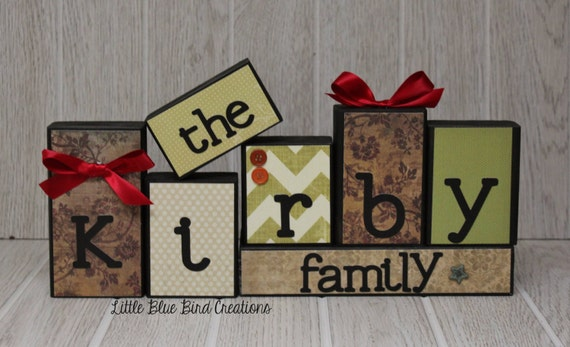 Personalized Family Wooden Block set - wood blocks- letter blocks - family sign - family tree - personalized decor