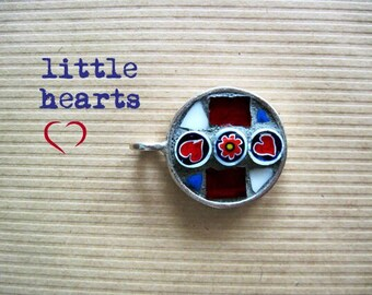 Mosaic Heart Pendant, Red Heart Pendant, OOAK, Mosaic Jewelry, Silver Pendant, Round Pendant, Heart Jewelry, Mosaic Necklace, Artisan