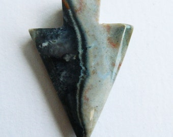 Dreamy Blue,Green swirl Ocean Jasper Arrow head ,Tribal,spike Pendant Bead