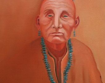 """Turquoise necklace 18""""x24"""" original oil painting on canvas Jan Smiley"""