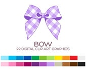 Bow Clipart for Personal & Commercial Usage - 22 digital gingham bows / 4.5x4 inches - A00135