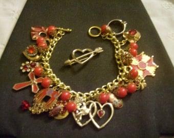 Ruby Valentine OOAK Charm Bracelet by Kay Creatives