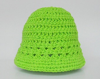 Newborn Baby To Adult Green Hat 2 3 4 5 Years Toddler Girl  Spring Cotton Cap 9 12 15 18 Month Pre Teen Boy Summer Lime Beanie Ready To Ship