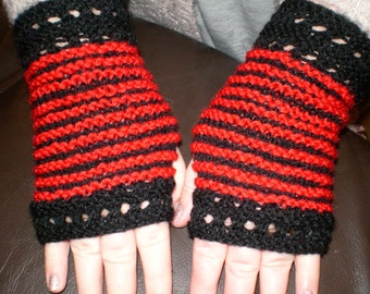 lovely pair of ladies hand knitted fingerless mittens/gloves black and red