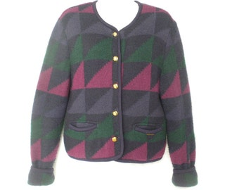 Vintage 80s Geiger Austria Purple Geometric Triangle Pattern Wool Mohair Cardigan Sweater Jacket Size 40 L