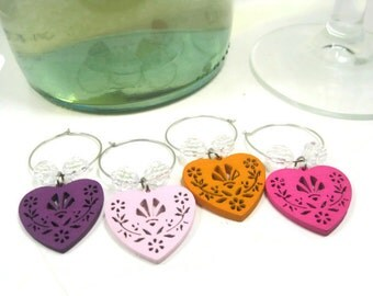 Beaded Wine Glass Charms, Wood Wine Glass Charms, Wine Accessories Set of 4