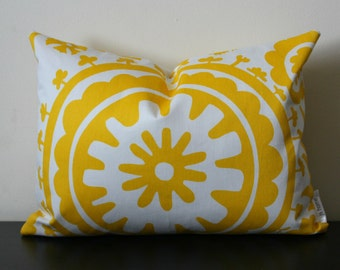 Decorative Throw Pillow, Yellow and White Lumbar Pillow,12x16,12 x18, Yellow and White Pillow Cover,Toss Pillow, Accent Pillow, Sofa Pillow