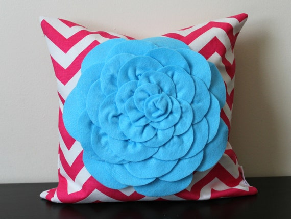 Light Blue Throw Pillow Covers : Decorative Throw Pillow Cover Light Blue Chrysanthemum Pillow