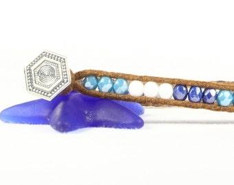 Blue aqua bracelet, Single wrap bracelet, Beach jewelry, CarolMade Sw59