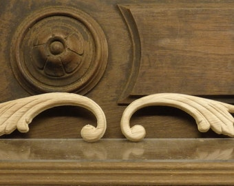 Oak Wood Slender Splash Plumes Applique 10 N Half inches