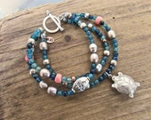 RESERVED  FOR PENNY     Multi-Strand Agate and Coral Bracelet, Hill Tribe Silver Sea Turtle