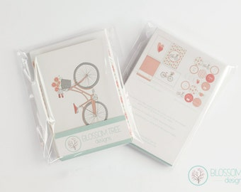 Set of 8 cards with envelopes. Recycled paper cards. A6 Greeting Cards