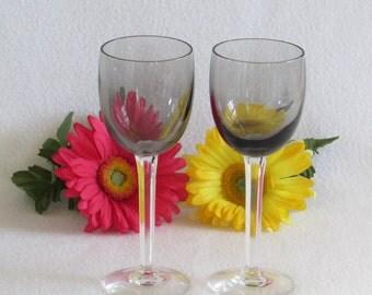 Crystal Wine Glasses in Smokey Grey with Hexagonal Stems