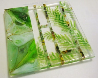 Green Fused Art Glass Plate