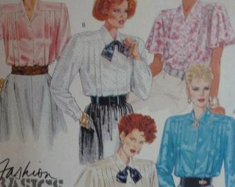 Vintage 1980's McCalls Misses' Blouse Pattern 2722  Size  8    UNCUT