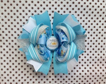 Ready To Ship Hairbow!  Princess Cinderella Hairbow, Daddy's Lil' Princess, Glitter Blue Hairbow, Princess Boutique Hairbow