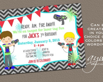 Laser Tag Birthday Invitation Laser Tag Party Laser Tag Invitation Birthday Party Invitations Printable Invites Photo Chevron Boy ANY AGE