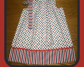 4th of July Dots and Stripes Pillowcase Dress
