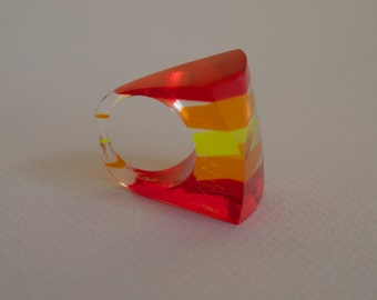 LUCITE Ring with Red, Orange and Neon Yellow Stripes 60s Vintage