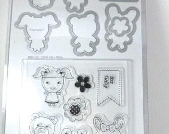 SALE, Sizzix Framelits Baby Girl stamp and die set, Doodlebug Design, baby frog, baby girl, baby bunny, baby bear