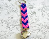 Pink and Blue Chevron. Bright Key Chain, Neon Colors, Chevron