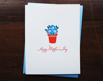 Happy Mother's Day Flowers - Letterpress Card