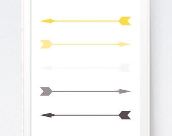 Yellow and Gray, Arrow Art, Printable Art, Mustard and Silver Wall Art, Arrow Prints, Wall Prints, Mustard and Gray, Arrow Wall Art, Decor