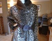 On Sale - women's Vintage Faux Leopard and fox fur collar swing coat Olympia U.S.A. Sz.L