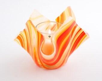 Fused Glass Candle Holder, Orange Swirl, Tea Light Holder, Votive Candle, Small Flower Vase, Retro Design, Hipster Decor, Gift for Him