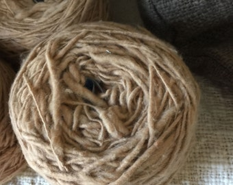 Organic hand-spun natural brown cotton yarn: Natural brown color, not dyed ( 2 rolls / ~3.7 oz per roll)