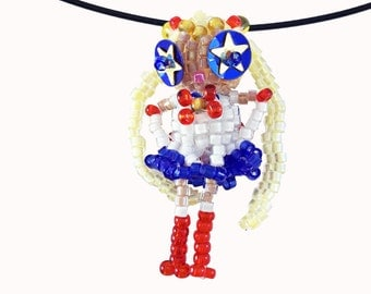 Funny Star Eyed Sailor Doll Necklace, seed bead jewelry, seed bead animals, beaded beads, beaded doll, pendant, 3d