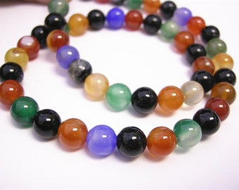 15 Inch Strand Of Natural Colorful Agate Rounds 8mm (48 Beads)-899Q