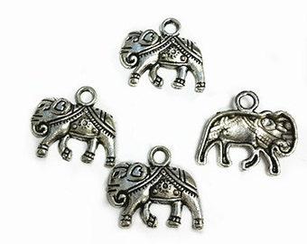 8pc 20x17mm antique silver finish metal elephant pendants-B38