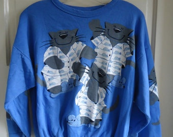 Vintage 80s CATS PAJAMAS Novelty Allover Print Sweatshirt sz S