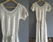 Crochet Dress in Ivory Cotton Small