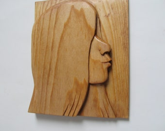 Wood carving Young Girl silhouette wall plaque hand carved art wood sculpture home decor wall decor birthday anniversary teenager profile
