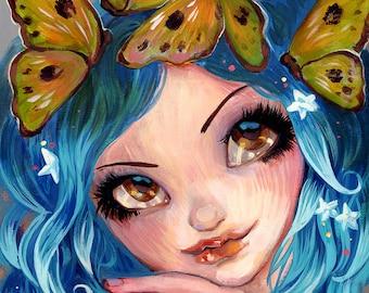 Butterflies In Her Hair, Fairy FANTASY  Fine Art Print  Natasha Wescoat 8x10 12x16 13x19 16x20
