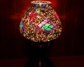 Turkish unique handmade decorative colourful glass mosaic table lamp, bedroom lamp, kids bedroom lamp, desk lamp.