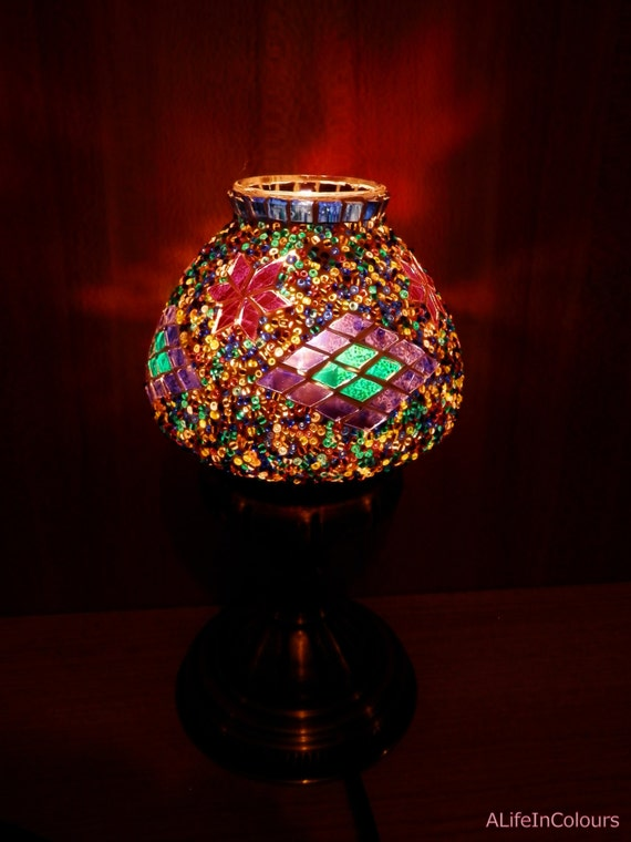 Turkish unique handmade decorative colourful glass mosaic table lamp   bedroom lamp  kids bedroom lamp. Turkish unique handmade decorative colourful glass mosaic